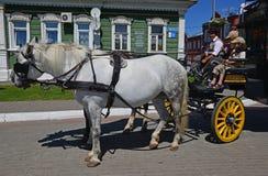 Drużyna konie z stangretem i dwa dziećmi w małym rosyjskim mieście Kolomna Fotografia Stock