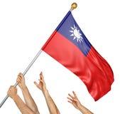 Drużyna podnosi Tajwańską flaga państowowa zaludnia ręki royalty ilustracja