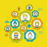 drużyna Pracy zespołowej pojęcie buck kobiecej wzór jeden strzał razem pracuje Współpracy biznesu praca zespołowa przewodnictwo p ilustracji