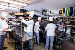 Drużyna szefowie kuchni przygotowywa jedzenie w kuchni obrazy royalty free