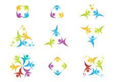 Drużynowa praca, logo, edukacja, ludzie, świętowanie, partnera symbol, grupowa ikona ilustracji