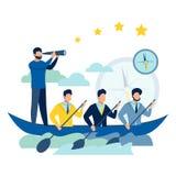 Drużynowa praca na łódkowatej wektorowej ilustraci ilustracja wektor
