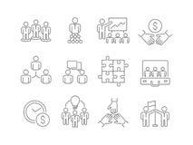 Drużynowego budynku ikony Grupa pracownicza ludzie biznesu pomaga wpólnie coworking uczestnictwo wektoru cienkich kreskowych symb ilustracja wektor