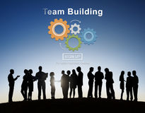 Drużynowego budynku współpracy rozwoju Biznesowy pojęcie obraz royalty free