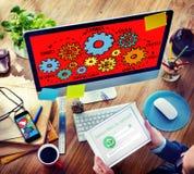 Drużynowej funkcjonalność przemysłu pracy zespołowej Podłączeniowa technologia Conce Zdjęcie Royalty Free