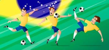 Drużynowi Brazil futbolowi gracze piłki nożnej ustawiają kopać piłkę zdjęcie royalty free