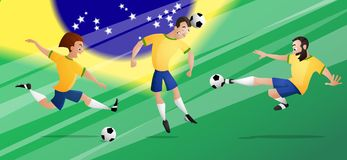 Drużynowi Brazil futbolowi gracze piłki nożnej ustawiają kopać piłkę fotografia stock