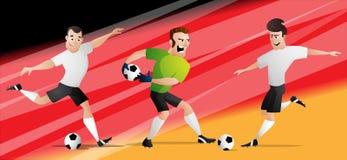 Drużynowi Niemcy futbolowi gracze piłki nożnej ustawiają kopać piłkę obraz royalty free
