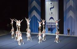 Drużynowy elita od Finlandia spełniania przy ECU europejczyka Cheerleading mistrzostwami 2018 obraz royalty free