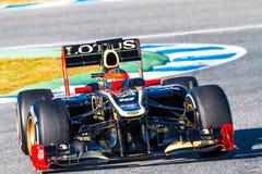 Drużynowy Lotosowy Renault F1, Romain Grosjean, 2012 Zdjęcia Stock