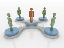 Drużynowy Workgroup, Leardership i Ogólnospołeczny sieci 3D pojęcie, ilustracji