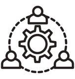 Drużynowy zarządzanie, cogwheel kreskowa odosobniona wektorowa ikona może łatwo redagować i modyfikujący royalty ilustracja