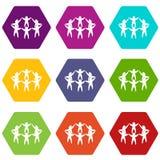 Drużyny lub przyjaciół ikony koloru ustalony sześciobok Zdjęcia Royalty Free