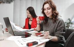 Dru?yna dwa m?odych kobiet projektant pracuje przy projekta projektem wewn?trzny obsiadanie przy biurkiem z laptopem i zdjęcie royalty free