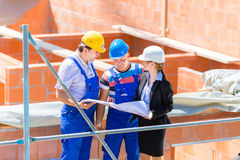 Drużynowi dyskutuje budowy lub placu budowy plany Obrazy Stock
