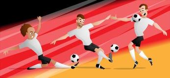 Drużynowi Niemcy futbolowi gracze piłki nożnej ustawiają kopać piłkę royalty ilustracja