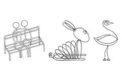 Druciani produkty dobierają się w miłości zajęczej strusiej wektorowej ilustraci eps10 ilustracji