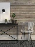 Druciany krzesła i metalu stół przeciw ścianie brown deski Fotografia Stock