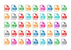 Vector illustration set of colorful flat ountline document labels and file types formats icons. PDF, MP3, TXT, XLS, PPT, CSV, MOV,. Vector illustration set of stock illustration