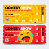 Vector Illustration Stand Up Comedy Event Show Entry Ticket Template Set. Modern Design With Emoticon. vector illustration