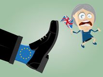 British leader is getting kicked out of mighty EU foot. Caricature royalty free illustration