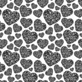 Hand drawn tribal tattoo heart seamless pattern. Black endless vector tracery on white background vector illustration