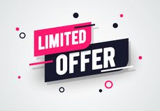 Vector illustration special limited offer, sale banner and discount tag design royalty free illustration