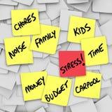 Druck belastet klebrige Anmerkungs-Anzeigen für stressiges Leben Stockbild