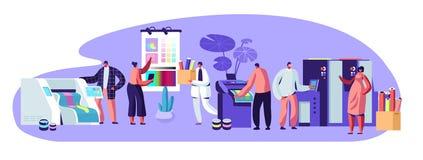 Druck der Eigenwerbungs-Agentur, Polygraphy-Industrie-Zusammensetzung mit menschlichen Charakteren Kunden, Designer, Arbeitskräft stock abbildung