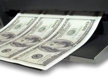 Druck des Geldes Stockbild