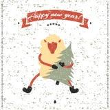 Druck des neuen Jahres und des Weihnachten Lustige Schafe Stockfotografie