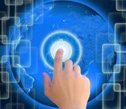 Druck Knopfenergie auf Zusammenfassung die Welttechnologie Stockbild