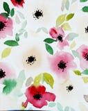Druck mit abstrakten Aquarellblumen und -blättern stock abbildung