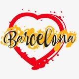 Druck mit Beschriftung über Barcelona vektor abbildung
