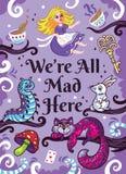 Druck mit Charakteren von Alice im Märchenland vektor abbildung