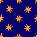 Druck mit gelben und orange Sternen der Handgezogenen Explosion auf dunkelblauem Hintergrund lizenzfreie abbildung