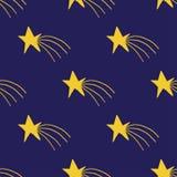 Druck mit Handgezogenen gelben Sternen mit Strahlen auf dunklem purpurrotem Hintergrund vektor abbildung
