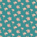 Druck-nahtloses Muster Lila Blumen mit blauem Hintergrund Stockbild