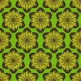 Druck-nahtloses Muster Mandala Flowers mit grünem Hintergrund Stockbild