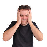 Druck-Sorge-Mann auf Weiß stockfoto