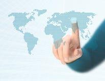 Druck von Taste in der Welt Lizenzfreie Stockfotos