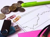 Druckbolzen auf dem wirtschaftlichen Diagramm Stockfotografie