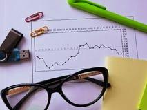 Druckbolzen auf dem wirtschaftlichen Diagramm Stockfotos