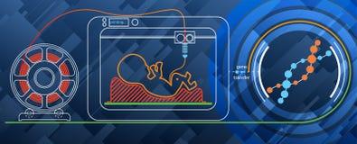 Drucken Sie einen menschlichen Embryo auf einem Drucker 3D für DNA Lizenzfreies Stockbild