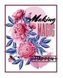 Drucken Sie für T-Shirt mit rosa Pfingstrosenblumen und -slogan Auch im corel abgehobenen Betrag Lizenzfreies Stockfoto