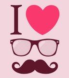 Drucken Sie i-Liebe Hippie-Art, -gläser und -schnurrbärte. Lizenzfreie Stockfotografie