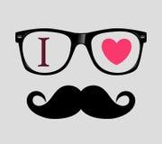 Drucken Sie i-Liebe Hippie-Art, -gläser und -schnurrbärte. lizenzfreie abbildung