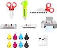 Drucken Sie und schneiden Sie clipart Vektor ENV, Scheren, Drucker, Tinte, Papiere, Messer, Schattenbildmaschine Stockfoto