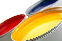 Druckenpressetinten, cyan-blau, magentarot, Gelb Lizenzfreie Stockbilder