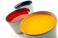 Druckenpressetinten, cyan-blau, magentarot, Gelb Lizenzfreie Stockfotografie